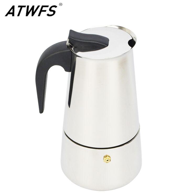 Atwfs alta calidad 2/4/6/9 tazas de espresso cafetera moka olla de acero inoxidable tazas de café con leche percolador estufa espresso pote