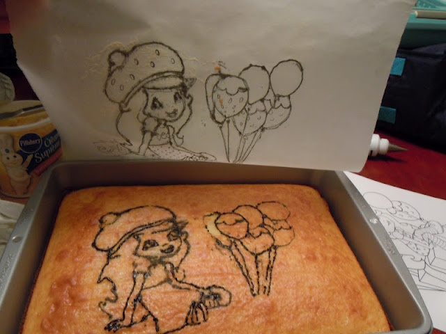DIY transfer of any traced picture (or coloring book page) from parchment paper to cake. The possibilities are endless!