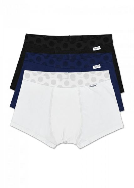 Bring sexy back with a solid 3-pack of men's trunks. Within this set, you'll get one pair of white, one pair of blue and one pair of black underwear for men. Along the waistband are polka dots in the corresponding colors. Made from cotton, men's trunks are soft and comfortable for an all-day fit. Plus, they feature a shorter leg and tighter fit for a barely there feeling. These sets are offered in sizes small through extra-large.