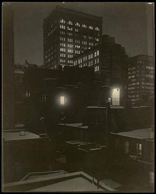 At the turn of the century, Stieglitz's duties as gallery owner, publisher, editor, and promoter left him little time to photograph.  When the mood struck him, however, which began to happen with some frequency about 1915, he did not look far afield but photographed his colleagues at the gallery and the view from his window with a modernist rigor exceeded only by Strand