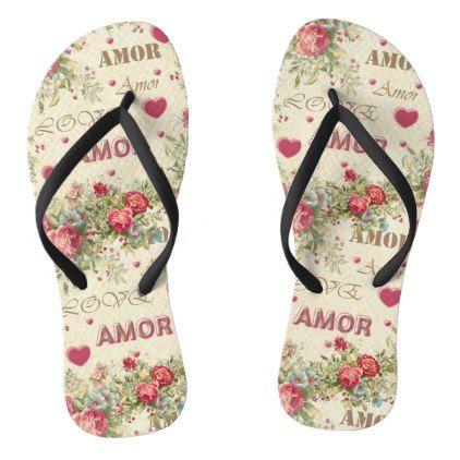Romantic thongs vintage word love roses flip flops - romantic gifts ideas love beautiful