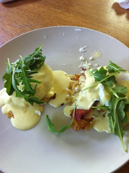 Bacon, goat cheese, arugula, hash brown eggs benedict