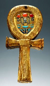 Mirror Case in the shape of an Ankh from Tutankhamun's Tomb