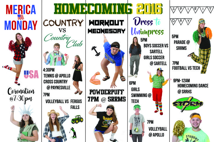 Homecoming Dress Up Days Poster Student Council High School Dress up Week