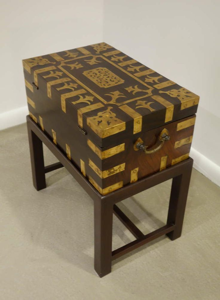 Anglo Indian Brass U0026 Rosewood Campaign Box/Side Table On Stand .