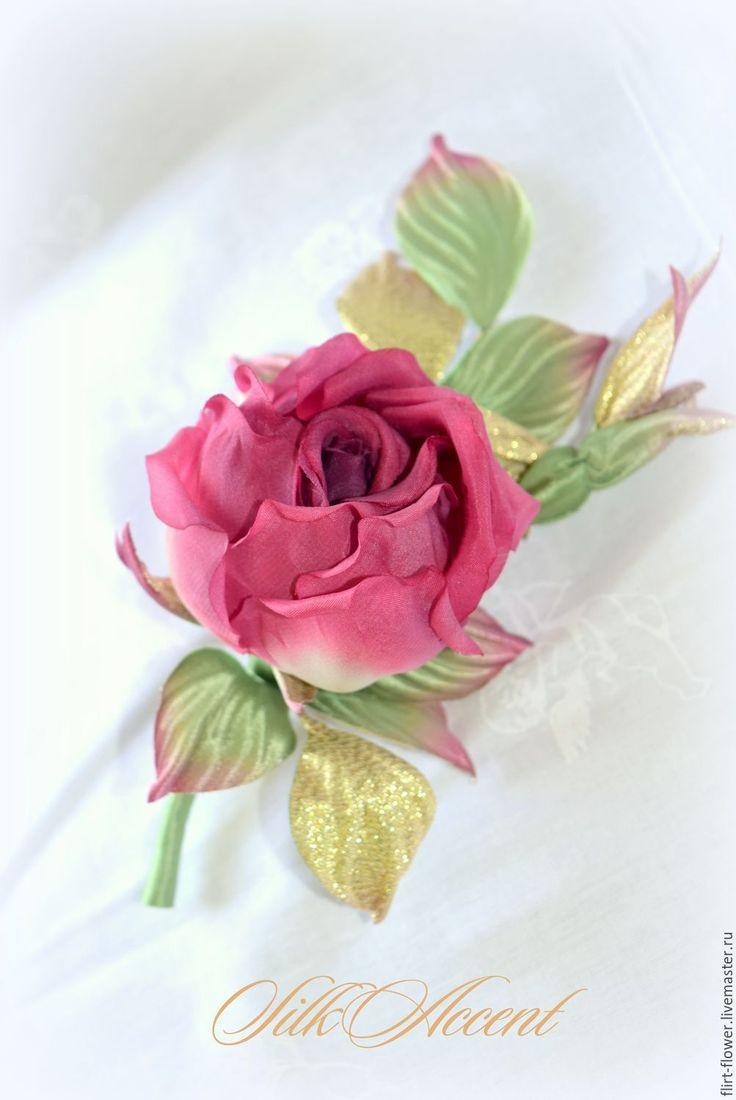 Купить Брошь бутоньерка Красная Роза в винтажном стиле. Цветы из шелка - ярко-красный