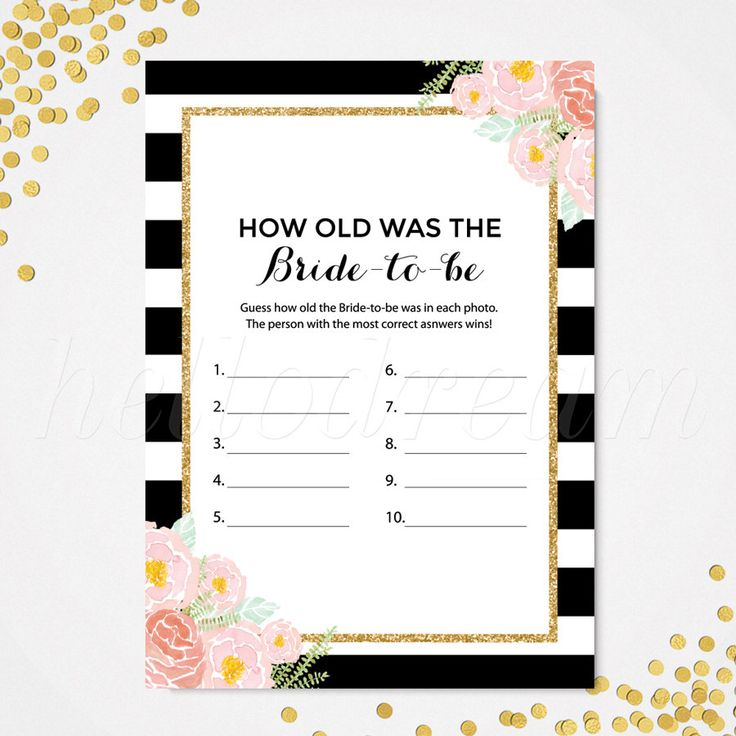 How Old Was The Bride-to-be, Printable Kate Spade Inspired Floral Chic Bridal Shower Game - SKUHDG12 by hellodreamstudio on Etsy