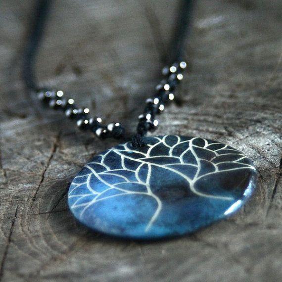 Tree of life ceramic pendant spiritual ceramic jewelry by Brekszer