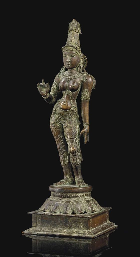 A BRONZE FIGURE OF DEVI -  SOUTH INDIA, KERALA REGION, 16TH/17TH CENTURY