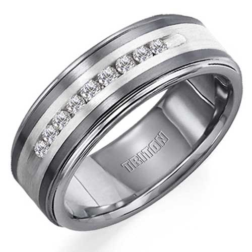 Triton Tungsten Carbide Diamonds Band with Sterling Silver Inlay (1/4 ctw)