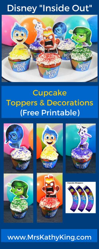 If you are planning an Inside Out birthday party?  Here are 5 Free Inside Out CupCake Toppers and Decoration Printables, I am sure your guest will love.  Our Free Inside Out  Cupcake Decorations includes 1 Inside Out Cupcake Wapper, 5 Inside Out Cupcake Toppers!