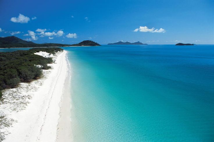 """Whitehaven Beach, Australia. Whitehaven Beach is a definite """"must-see"""" in the Whitsundays. The crystal clear aqua waters and pristine silica sand of Whitehaven stretch over seven kilometres along Whitsunday Island , the largest of the 74 islands in the Whitsundays. It defines nature at its best and provides the greatest sense of relaxation and escape."""