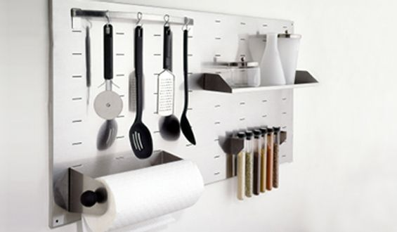 space saving kitchen utensils and spice rack wall hooks