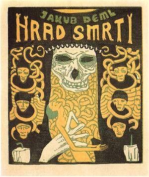 """Jacob Vachal, illustration de livre tchèque """"le château de la mort"""", Prague, 1912, crâne"""