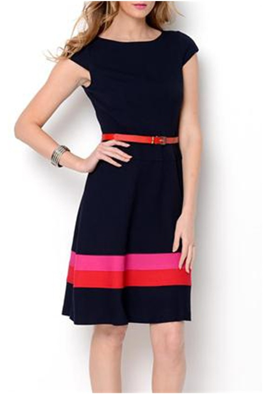 Anne Klein Belted A-Line Striped Dress - Enviius
