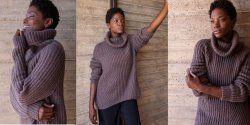 Модный свитер резинкой спицами. О.п.