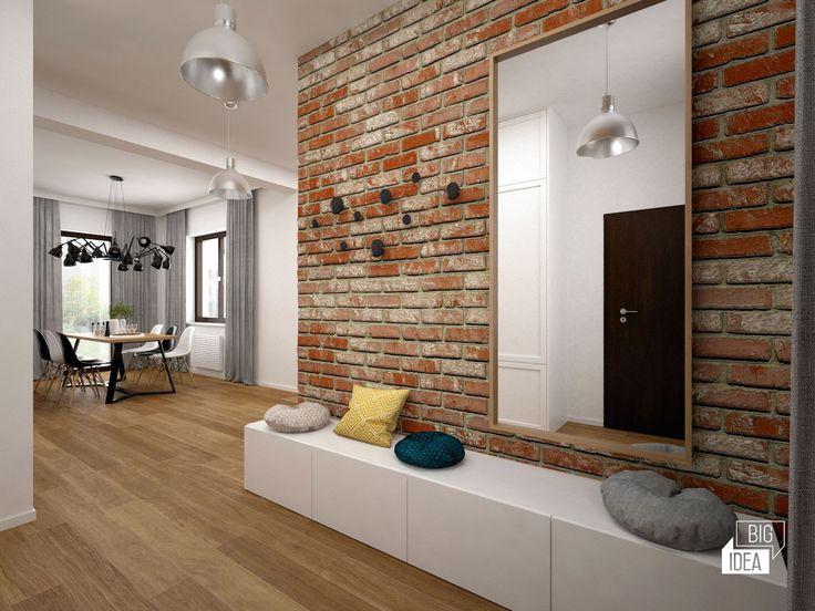 Projekt mieszkania 85m2 w Krakowie, styl eklektyczny, loftowy, wnętrze prywatne; Przedpokój