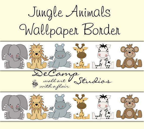 Jungle Animals Wallpaper Border Wall Decals for baby girl or boy nursery  and children s room decor. 15 Must see Zoo Nursery Wall Borders Pins   Baby nursery wall