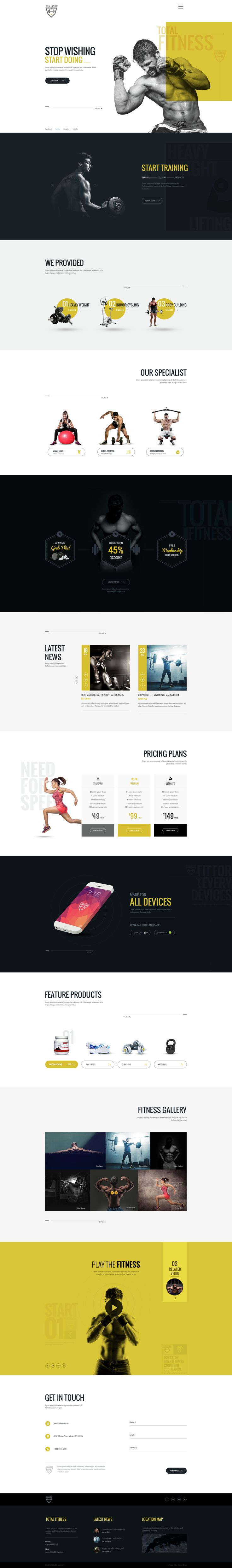 Total Fitness | All in One Fitness PSD Template - PSD Templates