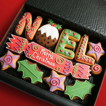 NOEL Christmas Cookie gift box- Hand decorated cookies presented in a premium gift box. Christmas cracker, figgy pudding, etc. (18)