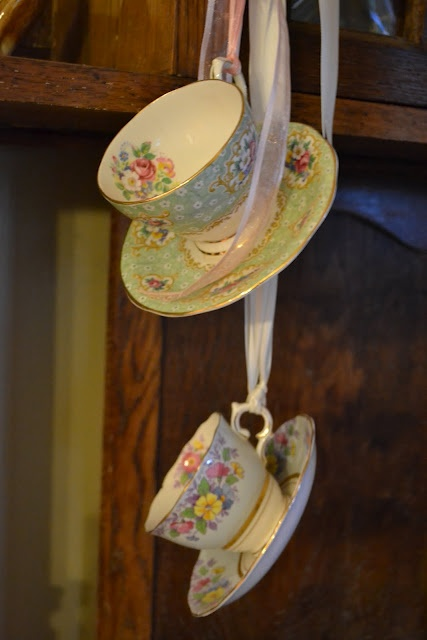 French Blue and Peachy Pink: Pretty Floral Shabby Chic Teacups    Gathered Lace Of Choice  Silk Ribbon Scrap  Angel Wings of Choice  Small Satin Christmas Ornament  Hot Glue Gun and Glue  Needle and Thread  Purchased Night Light With Cover