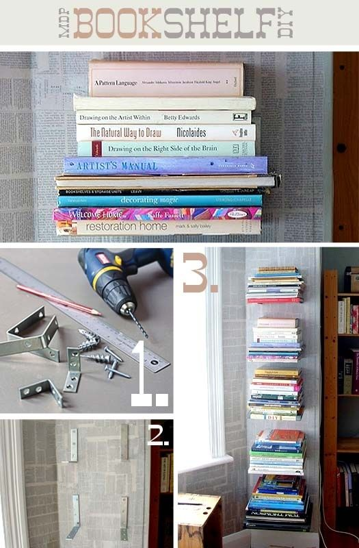 """10. Floating Bracket Bookshelves  I think this looks so so pretty and I want to do this in my workroom maybe up one of the """"awkward"""" walls, with the other strange wall using the wallpaper shelves idea."""