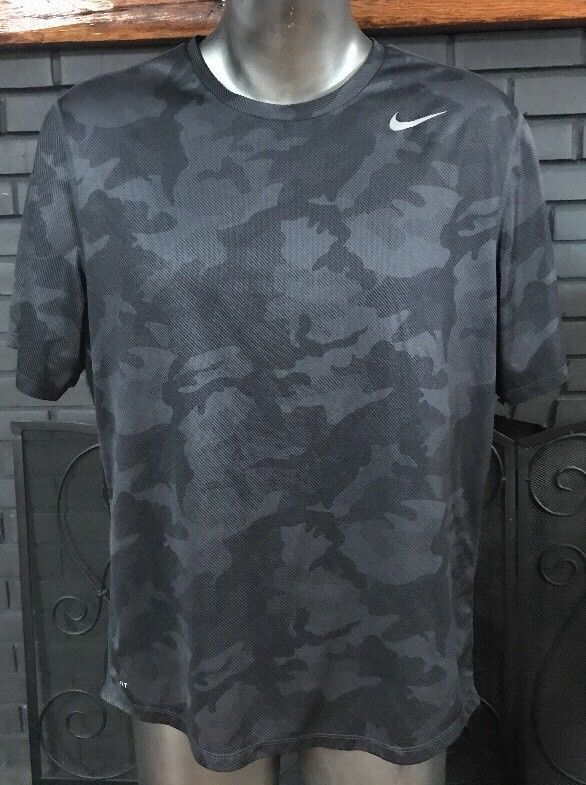 arrives lowest discount check out Nike Dri-Fit Running Tee Shirt Black Gray Camo Men's Size XL ...