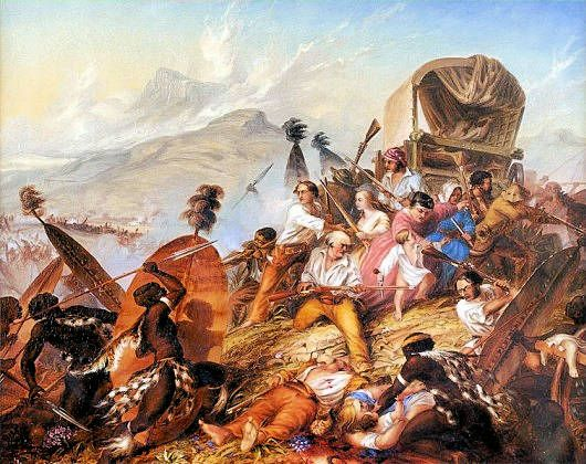 1838 Painting of a Zulu attack on a Voortrekker camp, by Charles Bell (1813-1882).  ''Battle of Bloukrans'', where Teresa Viglione (Italian) saddled her horse on 16-17 February, 1838 riding down the Bushmens River in the middle of the night to warn the other Voortrekker camps of the Zulu Impi advance, and the imminent danger of attack awaiting them. Deplicted in base relief no.15 at the Voortrekker Monumen (Pretoria, South Africa).
