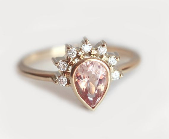 Diamond Morganite Ring, Pear Cut Engagement Ring With Pear Morganite and Half Halo Diamonds, 14k 18k