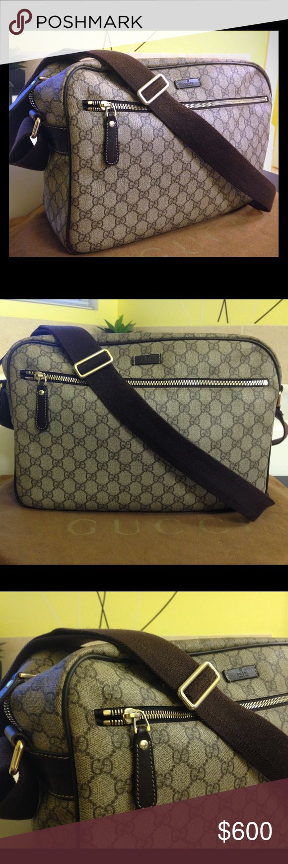 GUCCI messenger bag Monogram GUCCI unisex messenger bag. I had this for a while but still looks stunning as ever. Impeccable craftmanship.have a little sign of wear( shown on the pic ). You'll love this bag for sure.monogram Gucci will forever be classic. Made in Italy with light gold hardware. Comes with the dust bag. Bought from GUCCI store. Gucci Bags Messenger Bags