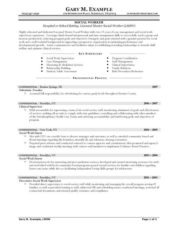 Resume Examples Social Work #examples #resume #ResumeExamples