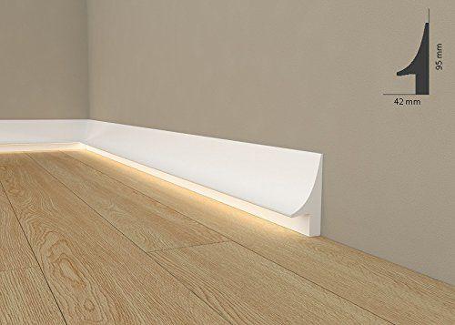 """Licht Fußleiste """"QL007"""" - Sockelleiste für indirekte Beleuchtung (aus hochfestem Polyurethan)"""