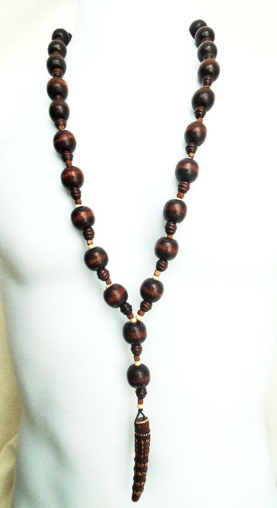 ETHNIC INSPIRED: MENS 30  LARGE BROWN CREAM WOOD NECKLACE 6  RESIN HORN PENDANT
