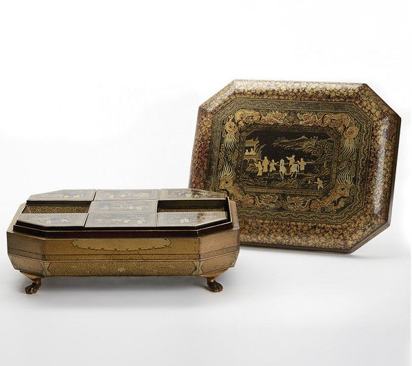 Antique Chinese Lacquer Fitted Games Box C.1830