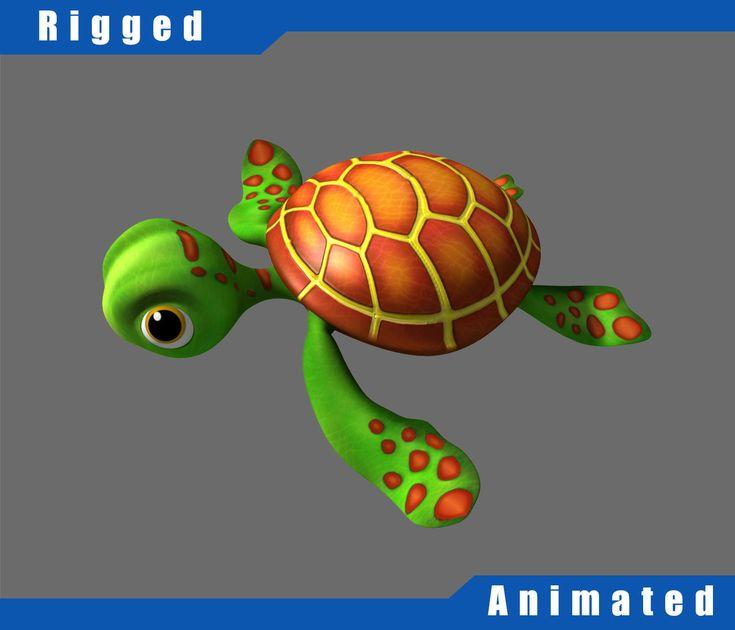 cartoon underwater scene rigged animated 3d model - 583×500