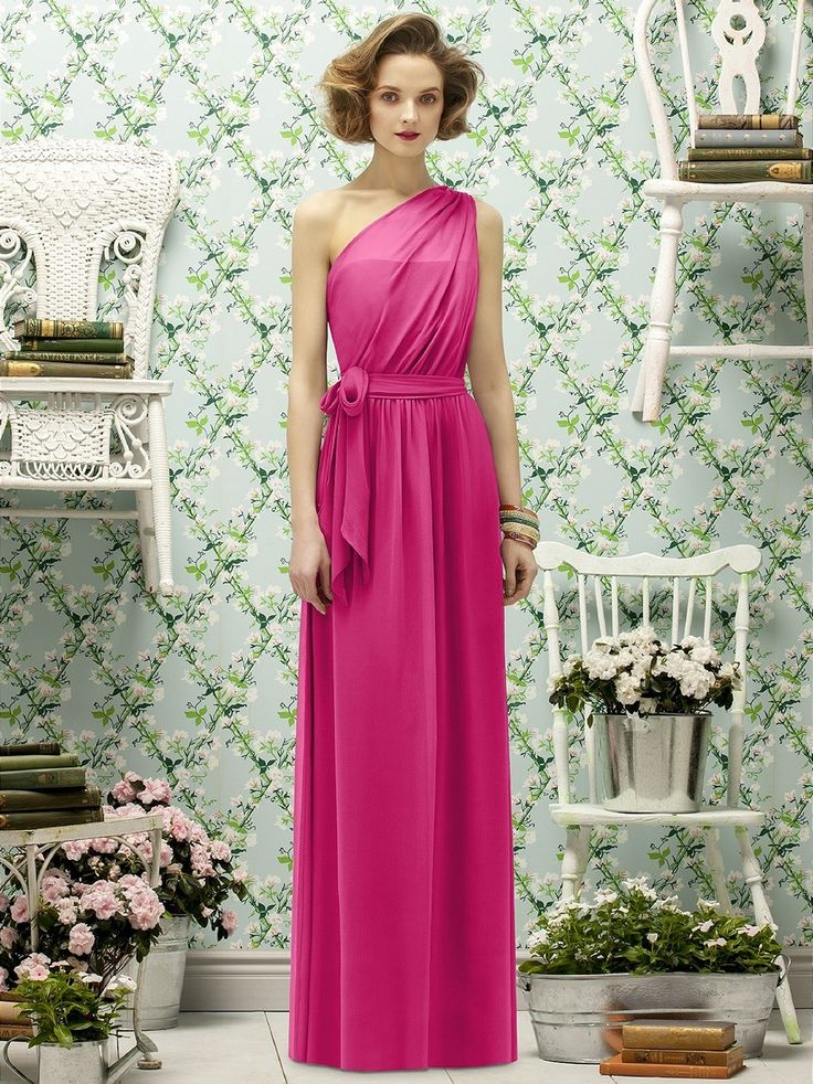Crinkle chiffon spans the A-line silhouette of Dessy Lela Rose LR188  Bridesmaid Dress,