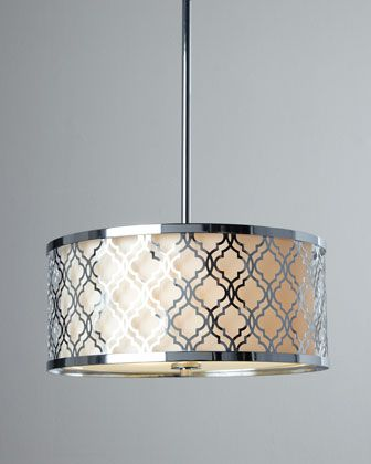 """""""Dauphine"""" Pendant Light by CYAN DESIGNS at Horchow. Made of wrought iron with a chrome finish. Linen shade. Includes ceiling canopy, two 8"""" down rods, two 12"""" down rods, and three 16"""" down rods. Direct wire; professional installation required. Small uses three 60-watt bulbs; 18""""Dia. x 8""""T. Boxed weight, approximately 17 lbs. Large uses five 60-watt bulbs; 23""""Dia. x 11""""T. Boxed weight, approximately 24 lbs. www.codarus.com"""
