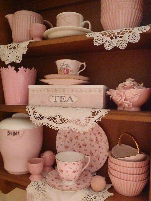 shabby chic tea...dishes...shelf...some vintage?...love the pink tea box!