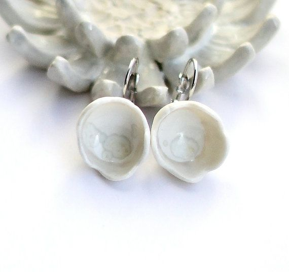 Handmade Porcelain earrings with french hooks by TuuliK on Etsy