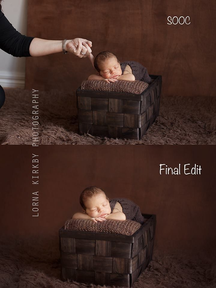 newborn photography - safety - showing parents how composites are done for safety 1st