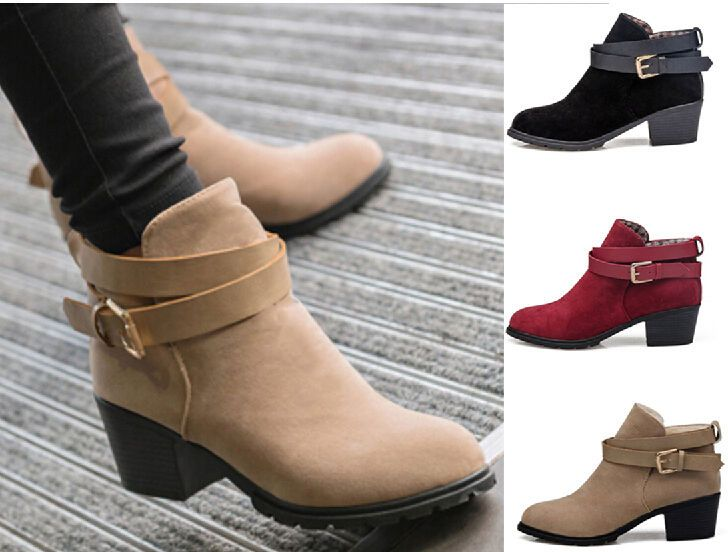 Fashion Womens Faux Suede Buckle Ankle Boots Autumn Low Heel Chunky Martin Shoes