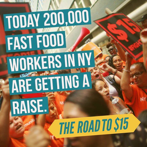 Today 200,000 fast food workers are getting their first raise headed to $15 in NY state. Fight & Win #FightFor15