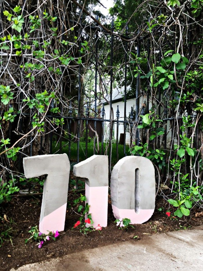 Oversize Painted Cement House Numbers