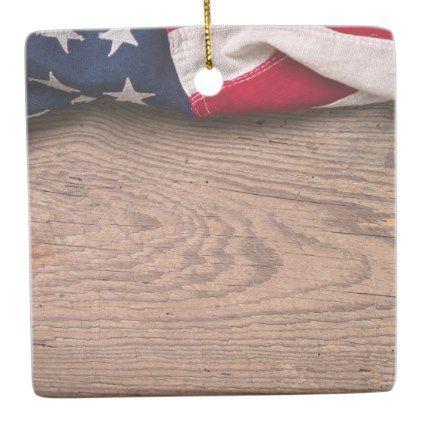 Vintage American Flag Border Ceramic Ornament - antique gifts stylish cool diy custom