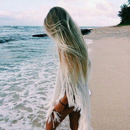 beach, beachwear, beautiful, blonde, girl, hair, heaven, long hair, nature, ocean, ombre, paradise, sand, sea, summer, sunny, vacation, waves