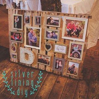 No les parece adorable esta idea para una boda? Un pallet decorado con fotos de los novios!! #decoracionparabodas #weddingideas #bodas #ideasparabodas