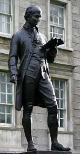 Oliver Goldsmith  Irish novelist, playwright and poet . Bronze Statue at Trinity College Dublin.Sculptor John Henry Foley. Erected in 1863
