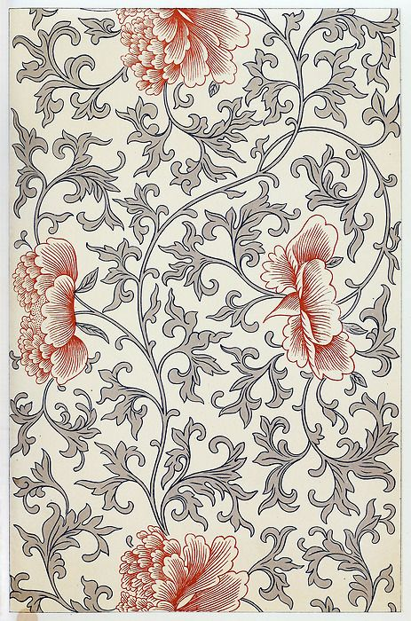 From a painted china bottle. We recognize here a mixed style; the flowing stem and treatment of the flower is after the Persian and Indian manner, whilst the form of the leaves is exactly that used in what we have called the fragmentary style. From Examples of Chinese ornament, by Owen Jones, London, 1867