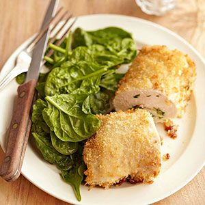 Chicken Kiev Nobody can resist this classic main dish of boneless chicken rolls stuffed with butter and a green onion mixture, then breaded, fried, and baked to a golden brown.