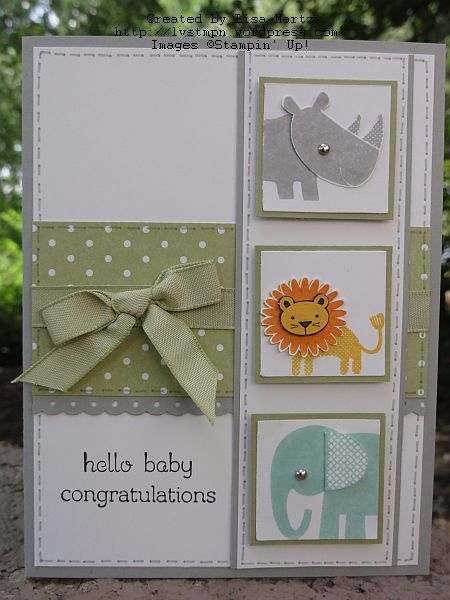 handmade baby card ... excellent layout ... would look great with other sets of small images too ... adorable little animals with fussy cut parts ... silver brad eyes ... like this card! ... Stampin' Up!